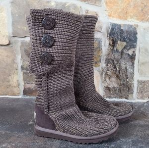 UGG 5 Metallic Knit Button Classic Cardy Boots